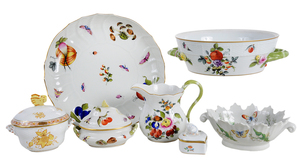 Seven Porcelain Pieces including Herend, Limoges