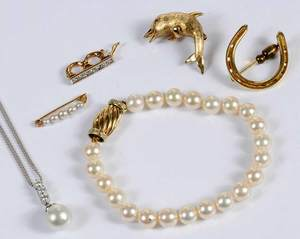 Six Pieces Gold, Pearl & Diamond Jewelry