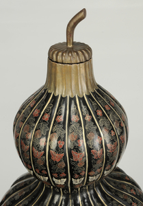 Monumental Pair of Asian Lacquered Double Gourds on Stands