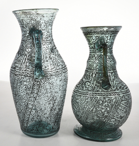 Two Persian Etched Glass Vases