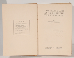 Eugene O'Neill Autographed Book of Three Plays
