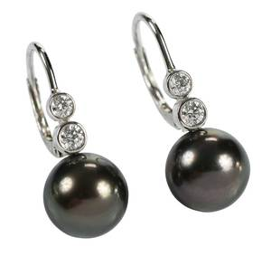 Mikimoto 18kt. Diamond & Pearl Earrings