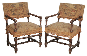 Pair of Baroque-Style Walnut Open Arm Chairs