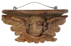 Baroque Carved Oak Cherub Wall Shelf