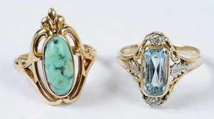 Two 14kt. Gemstone Rings