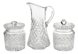 Three Cut Glass Table Top Objects