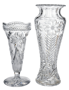 Two American Brilliant Period Cut Glass Vases