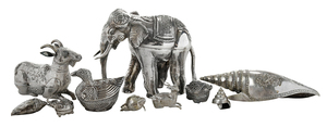 34 Silver Animals and Shells