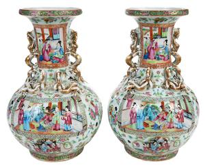 Pair of Rose Mandarin Vases With Chilongs