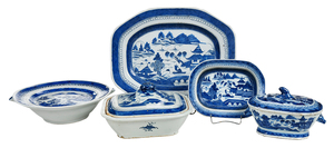 Five Pieces of Canton Blue and White