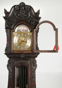 Impressive Carved Oak Chiming Tall Case Clock