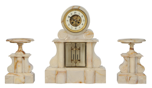 French Onyx Clock Garniture