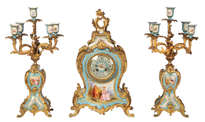 Louis XV Style Japy Freres Clock Garniture