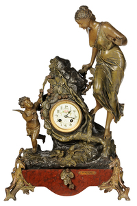 French Figural Eight Day Clock after Bruchon