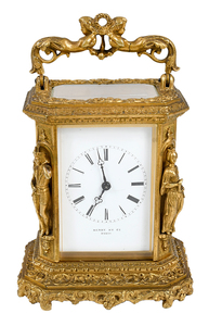 French Gilt Brass Figural Carriage Clock