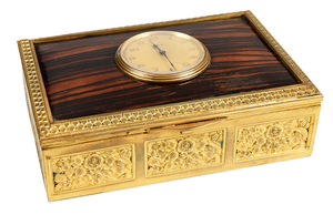 Gilt Brass and Wood Fitted French Clock