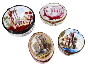 Four Decorated Enamel Boxes