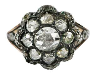 Antique Silver Topped Gold Diamond Ring
