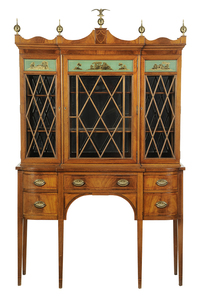 Federal Style Eglomise Breakfront Cabinet