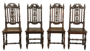 Two Pairs Jacobean Style Carved Oak Side Chairs