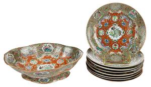 Nine Pieces Famille Rose Porcelain