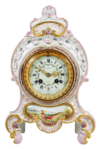 Japy Freres & Cie Painted Porcelain Clock