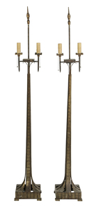 Pair of Art Deco Brass and Iron Torchieres