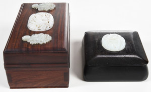 Two Wooden Boxes With Inlaid Jade Plaques