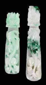 Two Carved Jade Belt Hooks