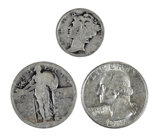 Aprox. 114 Troy Ounces Silver Dimes and Quarters
