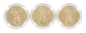 Three Gold American Fifty Dollar Proof Coins