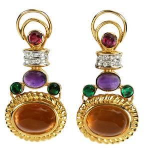 14kt. Diamond & Gemstone Earclips