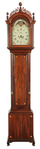 Rare Ephraim Willard Mahogany Tall Case Clock