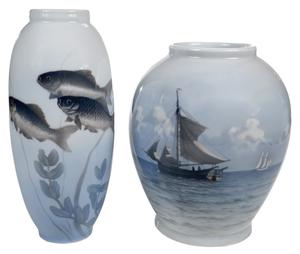 Two Large Royal Copenhagen Porcelain Vases