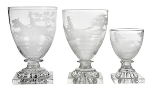 23 Etched Fox and Hounds Themed Goblets