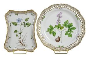 Two Flora Danica Porcelain Trays