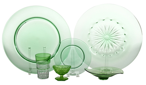 25 Pieces of Green Glass Tableware