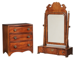 Shaving Mirror and Miniature Bow Front Chest