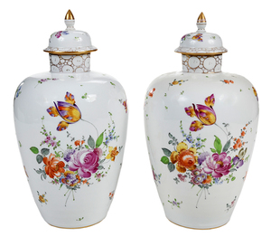 Pair German Hand Painted Porcelain Lidded Jars