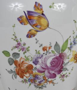 Pair German Hand Painted Porcelain Lidded Jars