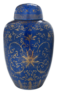 Powder Blue Gilt Chinese Ginger Jar
