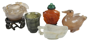 Five Miniature Carved Hardstone Objects