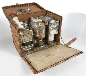Silver Plate Picnic Tea Set in Basket