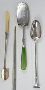 Eight English Silver Serving Utensils
