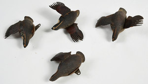 Nine Miniature Hand Carved and Painted Wildfowl