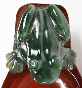 Carved Agate Tray with Jade Frog