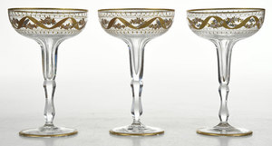 12 Gilt and Enamel Decorated Champagne Coupes