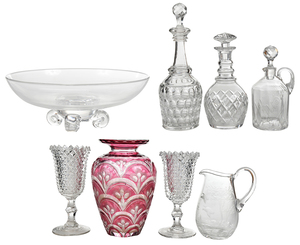 Steuben Bowl and Seven Pieces Assorted Glass
