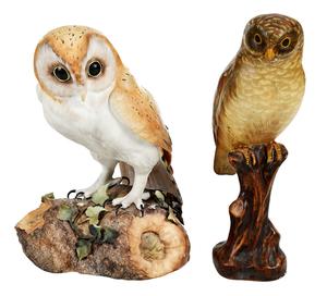 Two Porcelain Owl Figures