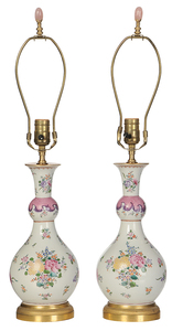 Pair of French Hand Painted Porcelain Vases
